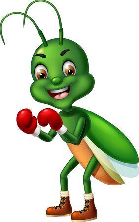 Funny Green Boxer Grasshopper Cartoon for your design
