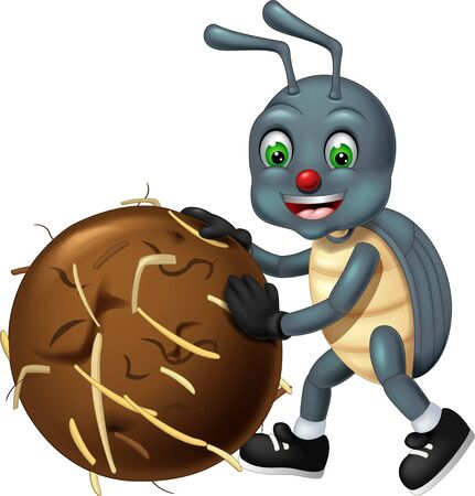 Funny Grey Beetle Wearing Black Shoes Cartoon for your design