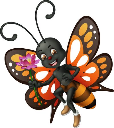 Funny Flying Brown Black Butterfly With Purple Flower Cartoon for your desig