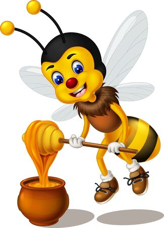 Cute Yellow Black Bee With Honey Cartoon for your design