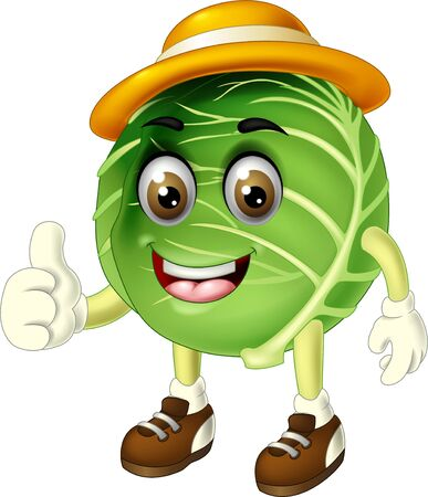 Funny Green Cabbage Wearing Yellow Hat And Brown Shoes Cartoon for your design 일러스트