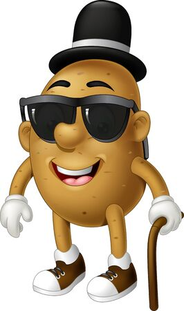 Cool Brown Potato Wearing Black Hat And Glasses With Brown Wood Stick Cartoon for your design