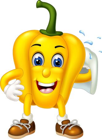 Funny Yellow Paprika Wearing Brown Shoes With White Towel cartoon for your design Vetores