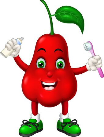 Funny Red Waterapple Wearing Green Shoes Holding Toothbrush And Toothpaste Cartoon for your design