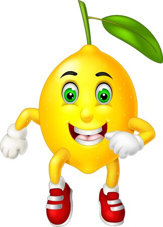 Funny Yellow Lemon In Red Shoes Cartoon for your design Çizim