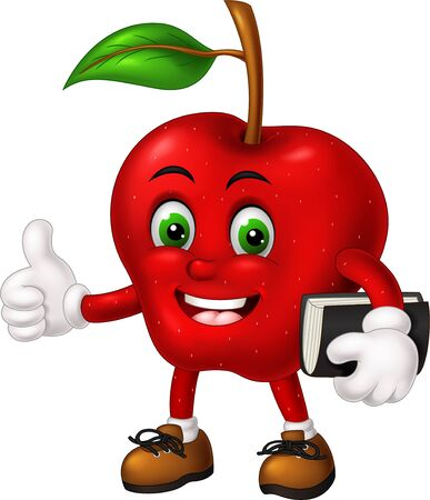 Cool Red Apple In Brown Shoes Holding Brown Book Cartoon for your design