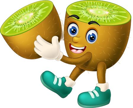 Funny Brown Kiwi In Green Shoes Cartoon for your design