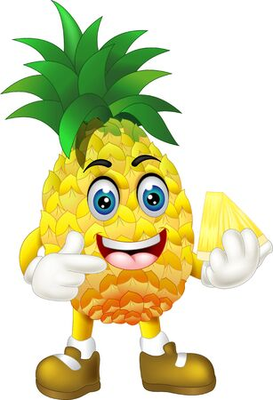 Funny Yellow Pineapple In Brown Shoes Cartoon for your