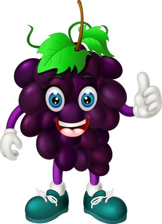 Funny Purple Grape In Green Shoes Cartoon for your design