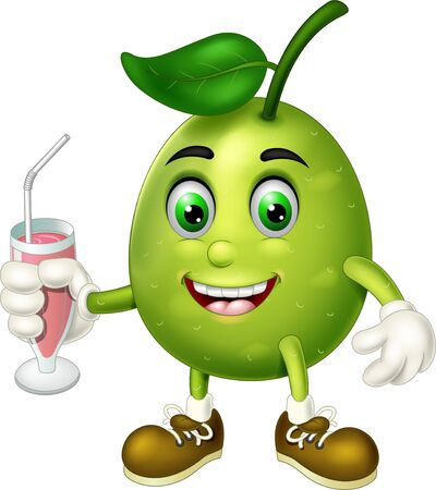 Cute Green Guava In Brown Shoes Holding Juice Cartoon for your design