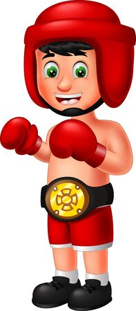 Funny Boxer Boy In Red Uniform Cartoon for your design