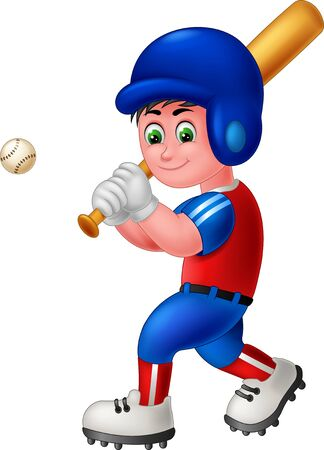 Funny Baseball Player Boy Wearing Blue Red Uniform And Blue Helmet Cartoon for your design