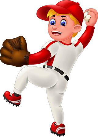 Cool Baseball Player In White Red Uniform With Red Cap And Brown Glove Cartoon for your design