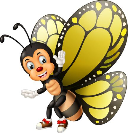 Funny Yellow Black Butterfly Cartoon for your design