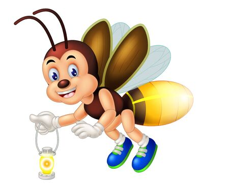 Funny Brown fireflies Wearing Blue Shoes Cartoon for your design