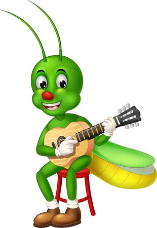 Funny Green Mantis Sitting On Red Chair Playing Acoustic Guitar Cartoon for your design Stock Illustratie