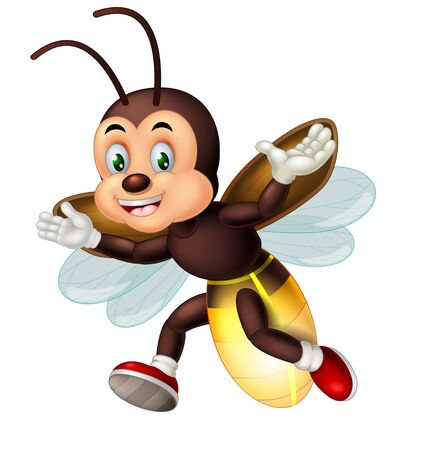Funny Brown Fireflies Wearing Red Shoes Cartoon for your desig