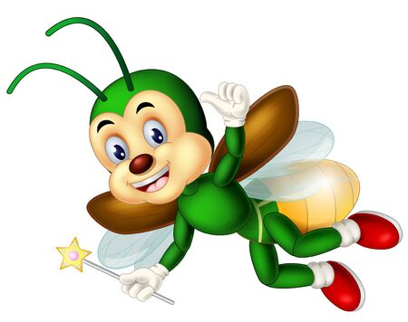 Funny Green Fireflies Wearing Red Shoes Cartoon for your design