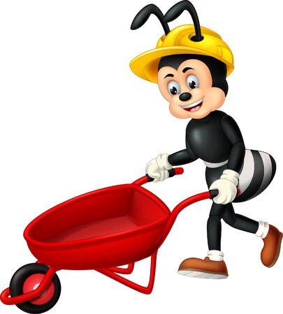 Divertente formica nera che indossa un casco giallo con un cartone rosso del carrello per il tuo design Vettoriali