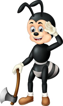 Funny Black Ant With Axe Cartoon For Your Design