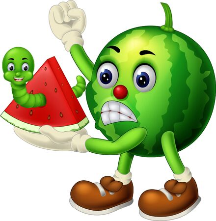 Funny Green Watermelon With Green Worm Cartoon for your design