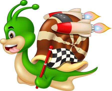 Dessin animé drôle d'escargot vert de course pour votre conception