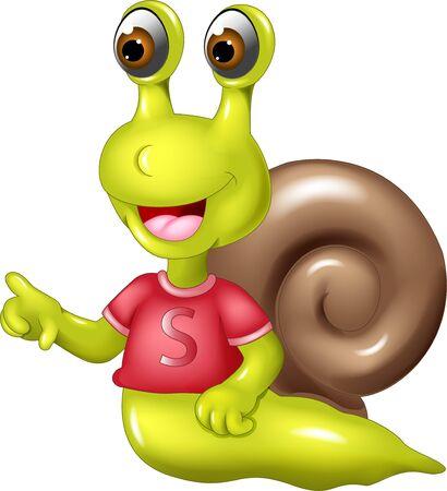 Escargot vert drôle en chemise rouge avec dessin animé de coquille marron pour votre conception