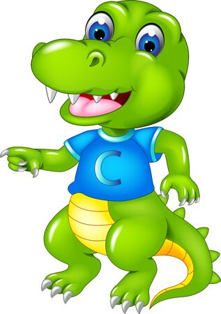 Cool Green Crocodile In Blue Shirt Cartoon for your design