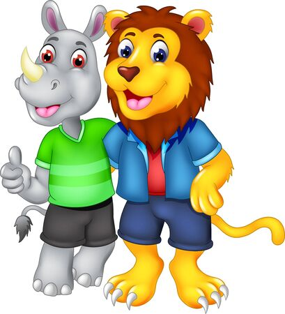 Funny Grey Rhinoceros In Green Shirt And Yellow Brown Lion In Blue Shirt Cartoon for your design