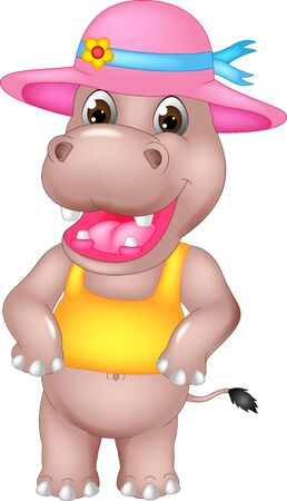 Funny Brown Hippopotamus In Yellow Shirt And Pink Hat Cartoon for your design