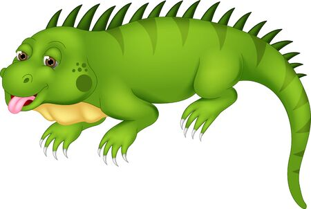 Funny Green Iguana Cartoon for your design