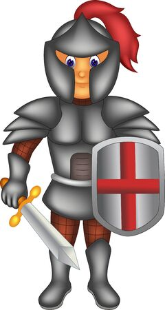 Funny Boy In Knight Costume Cartoon for your design  イラスト・ベクター素材