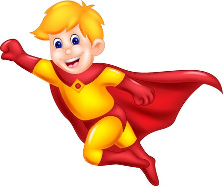 Cool Flying Boy In Red Yellow Superhero Costume Cartoon for your design