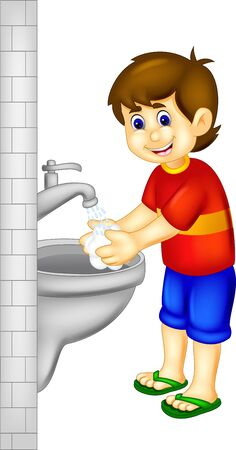 Funny Boy In Red Shirt Washing Hand Cartoon for your design 일러스트