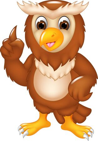 Funny Brown Owl Cartoon for your design