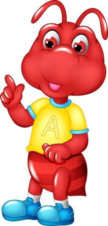 Funny Red Ant Wearing Yellow Shirt And Blue Shoes Cartoon for your design