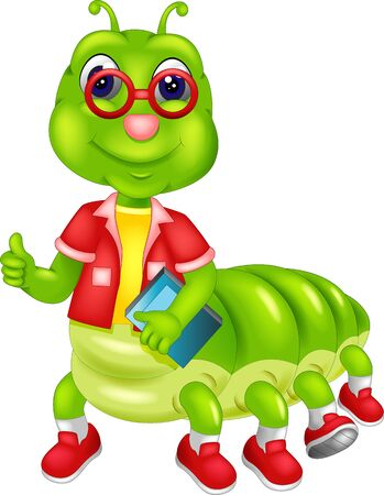 Funny Green Caterpillar Wearing Red Shirt And Shoes Cartoon for your design