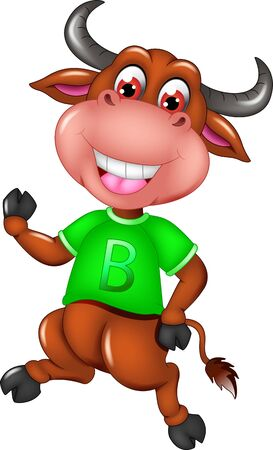 Funny Brown Buffalo In Green Shirt Cartoon for your design