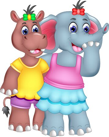 Funny Grey Elephant In Pink Shirt Blue Dress And Brown Hippopotamus In Yellow Shirt Cartoon for your design Ilustracja
