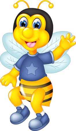 Funny Yellow Bee In Blue Shirt Cartoon for your design