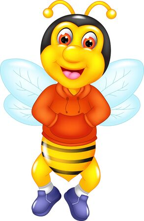 Funny Yellow Bee On Orange Sweater Cartoon for your design