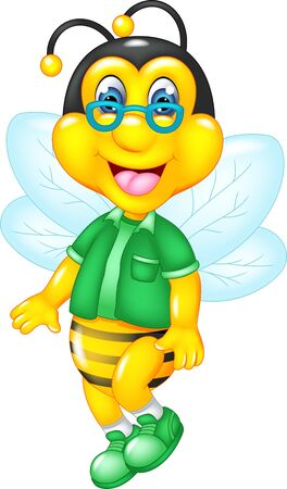 Funny Yellow Bee In Green Shirt Cartoon for your design