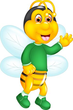Cute Yellow Bee In Green Sweater Cartoon for your design