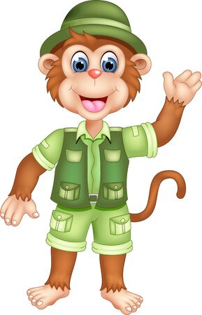 Cute Brown Monkey In Green Uniform Cartoon for your design