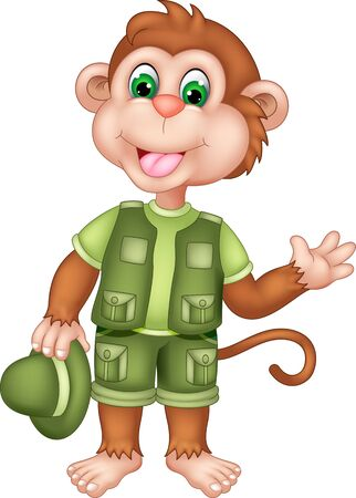 Cool Brown Monkey In Green Uniform Cartoon for your design