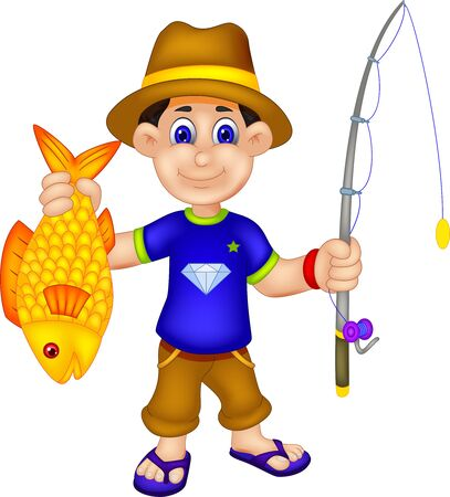 Funny Fisher Boy With Fish Rod And Yellow Fish Cartoon for your design