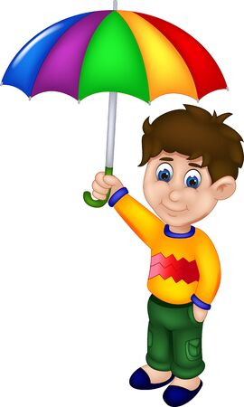 Funny Boy In Yellow Shirt With Rainbow Umbrella Cartoon for your design