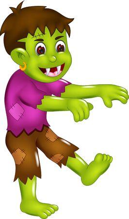 Funny Green Frankenstein Monster In Purple Shirt Cartoon for your design Ilustração