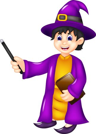 Funny Boy In Purple Witch Costume With Stick And Brown Book Cartoon for your design Ilustração