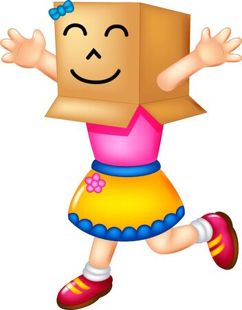 Funny Girl Wearing Cardboard Box On Her Head Cartoon for your design